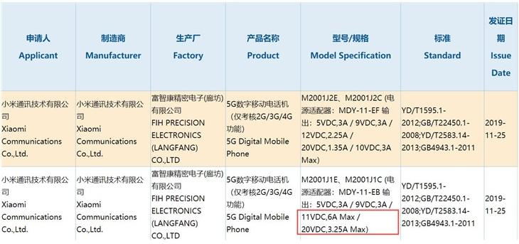 小米5G新机已获得3C认证最高将支持66W快充