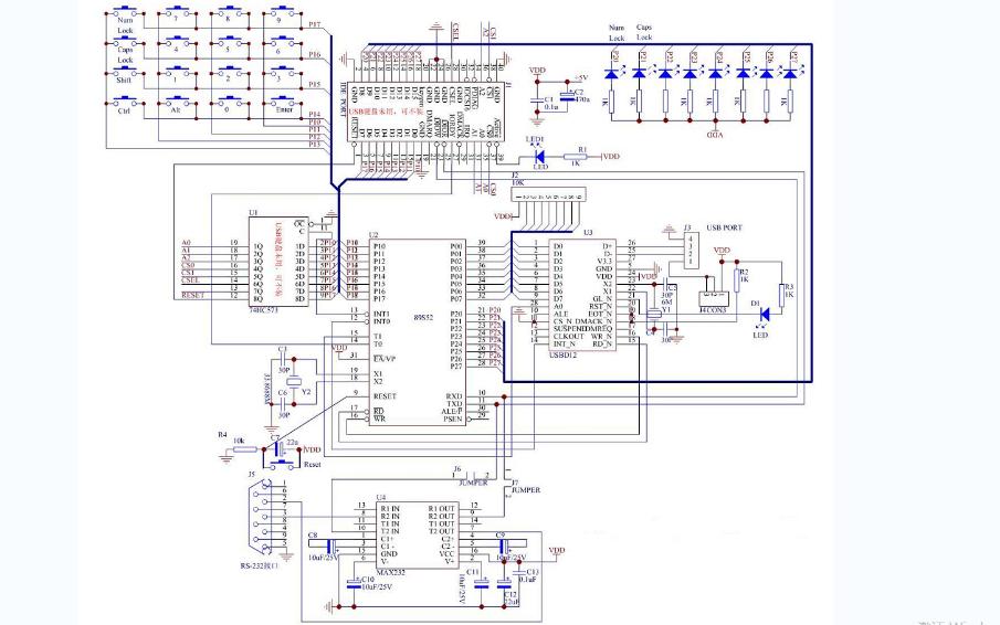 自制USB键盘的电路原理图和工程文件与源代码免费下载