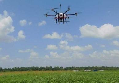 通过利用无人机技术对农村水生杂草进行管理