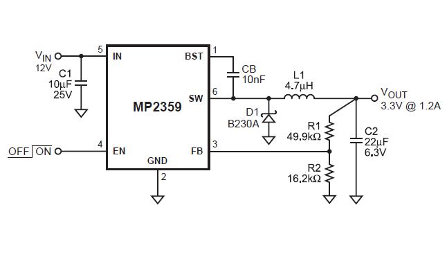MP2359单片降压开关模式转换器的数据手册免费下载