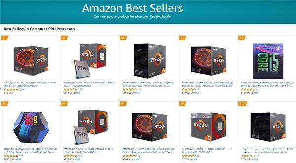 美国排名前10位的Amazon CPU畅销产品AMD占据8个席位图片
