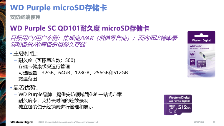 图6:西部数据针对安防市场的WD Purple microSD存储卡。