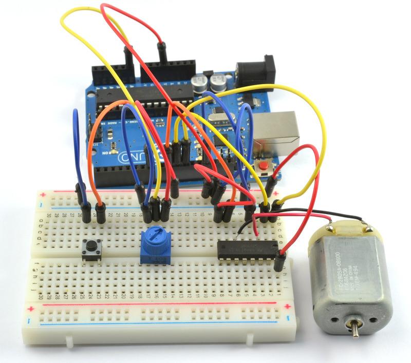 如何使用Arduino和L293D电机驱动器芯片来控制小型DCmotor的方向和速度