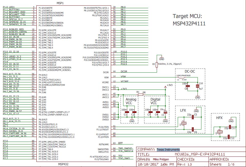 TI MSP432P4111单片机的电路原理图免费下载