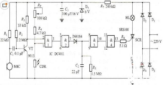 声光控制灯的工作原理_声光控制灯原理图 声光控制灯由电子控制电路
