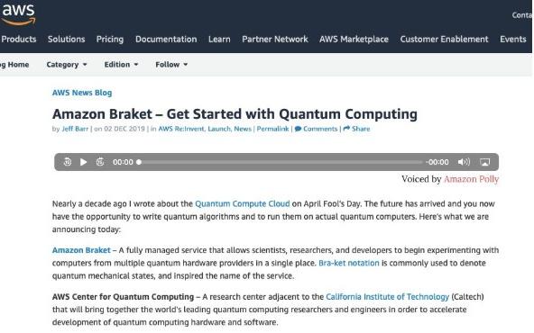 亚马逊加入量子竞赛,推出新型云服务Amazon Braket