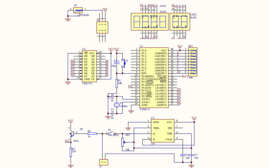 六位数码管显示频率计电路原理图免费下载
