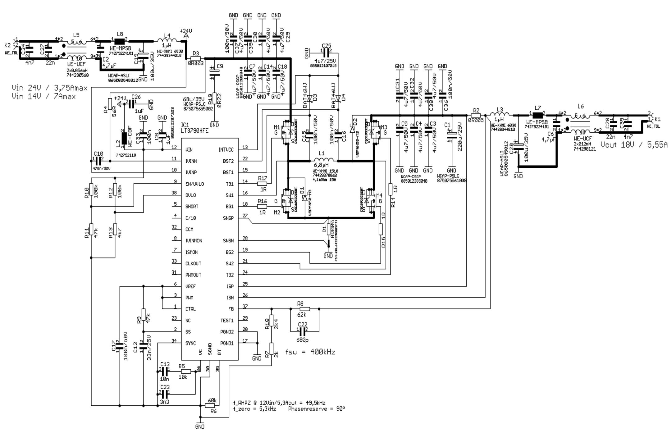 图7:100W升降压转换器电路图(包括所有滤波器器件)