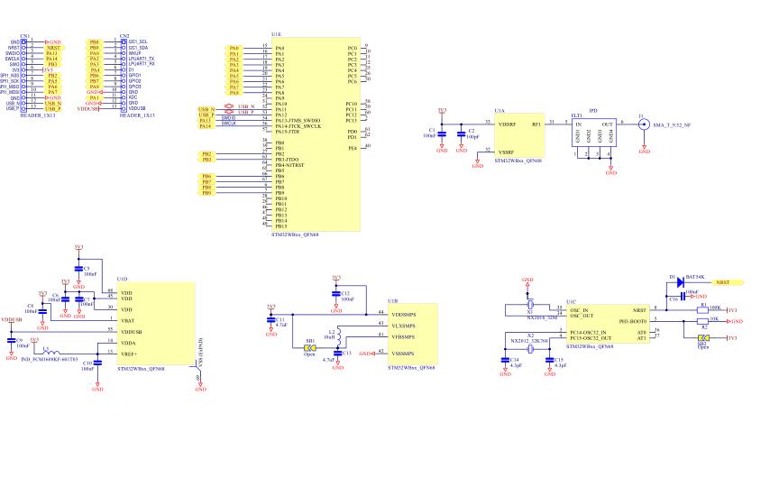 STM32WB55單片機的PCB和電路圖合集免費下載