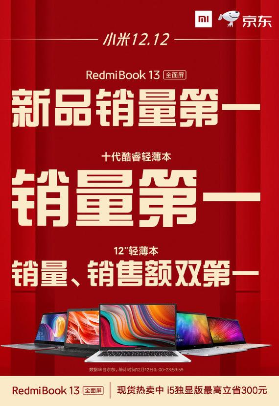 RedmiBook13全面屏笔记本电脑获得了京东新品销量第一