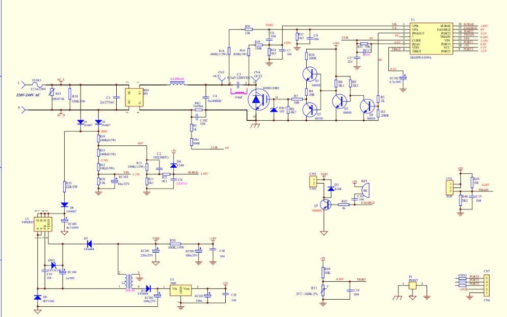 美的电磁炉的TM-S1-01W-A主板电路原理图免费下载