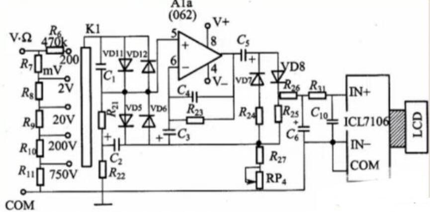 数字万用表测量交流电压的电路