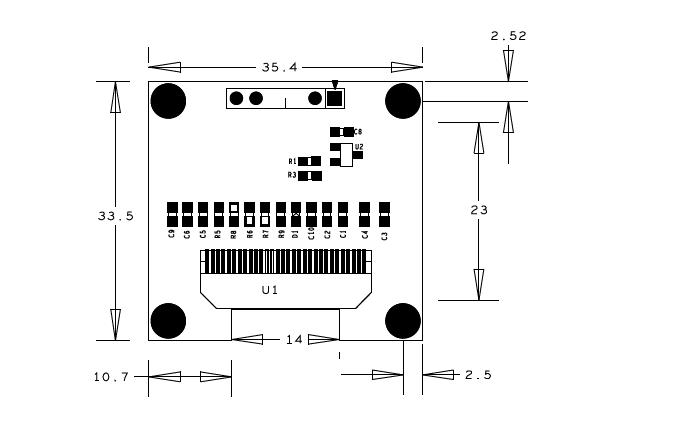 1.3寸OLED模塊的6PIN SPI接口結構圖免費下載