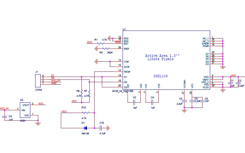 1.3OLED顯示屏IIC接口電路原理圖免費下載