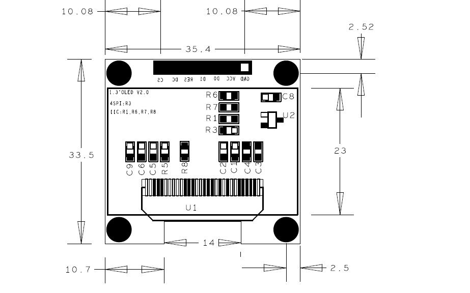 1.3寸OLED的SPI-IIC模塊結構圖免費下載
