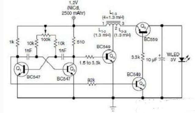 简单实用的白光LED手电筒电路