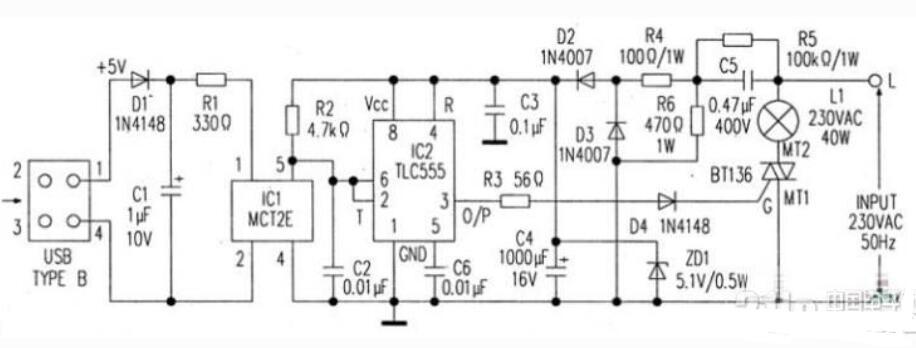USB臺燈電路圖原理