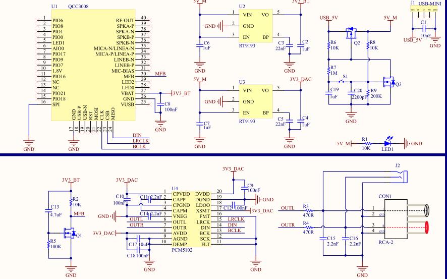 使用QCC3008蓝牙芯片实现蓝牙5.0 I2S解码的工程合集免费下载