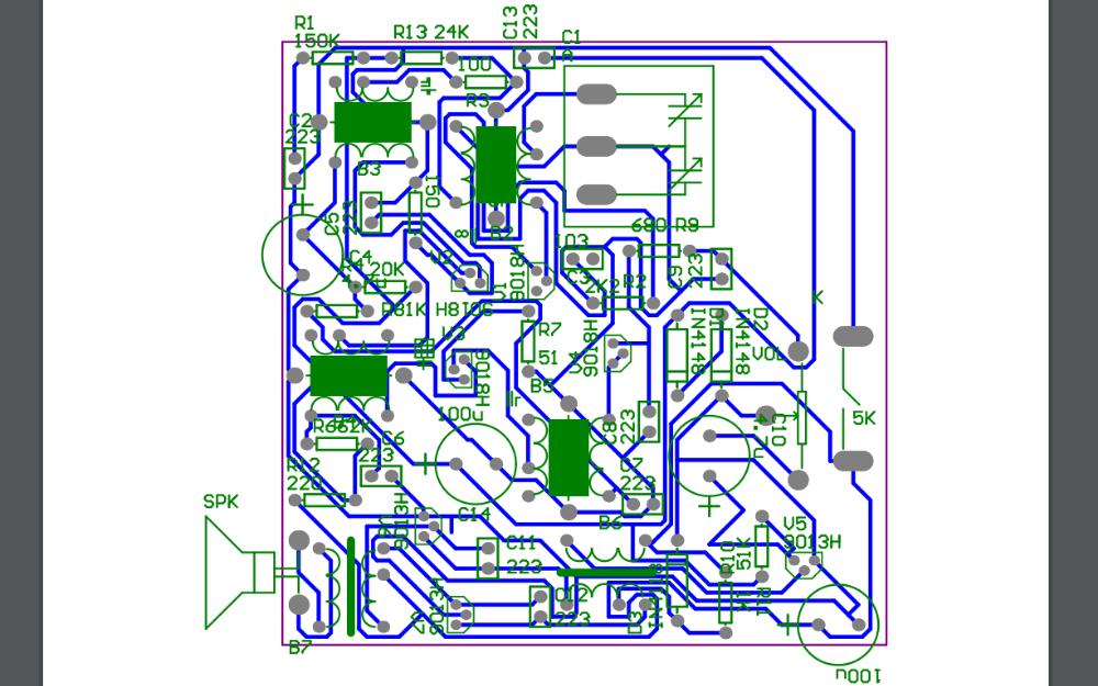 HX108-2收音机的PCB图免费下载