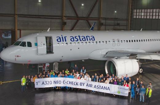 阿斯塔纳航空公司的空客A320neo飞机已完成了C-Check检查