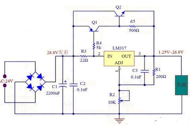 LM317可调电压输出电路