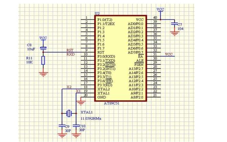 使用PG12864LCD设计的指针式电子钟仿真电路图免费下载
