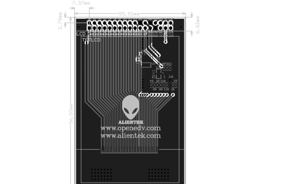 3.5寸触摸液晶屏TFT LCD屏的尺寸图免费下载