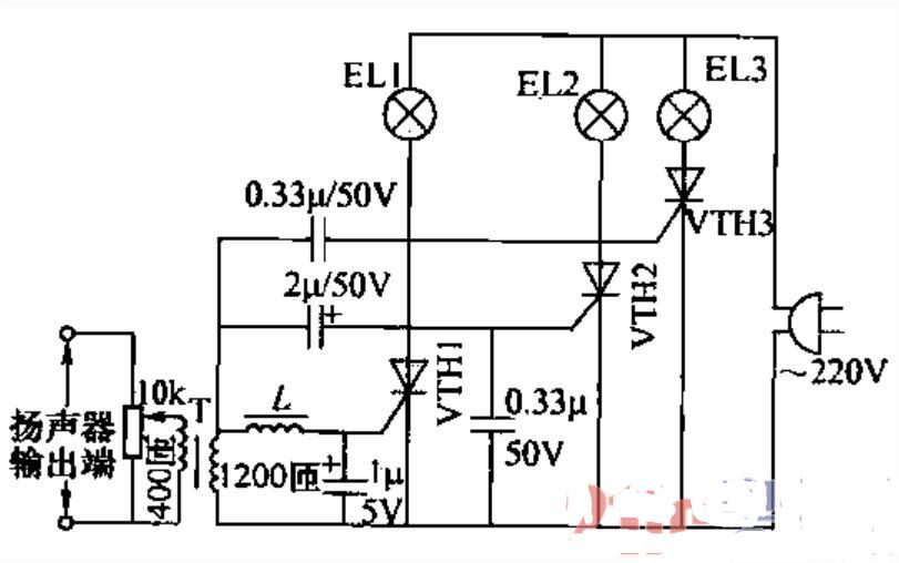 单向晶闸管在音乐控制彩灯电路中的应用