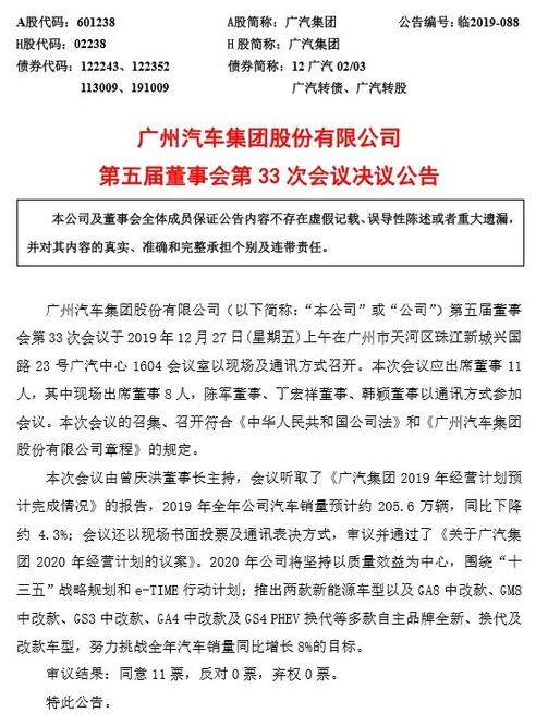 广汽集团2020年经营战略计划分析