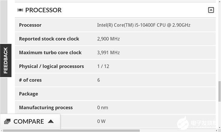 英特尔新一代i5-10400F处理器参数外漏,睿...