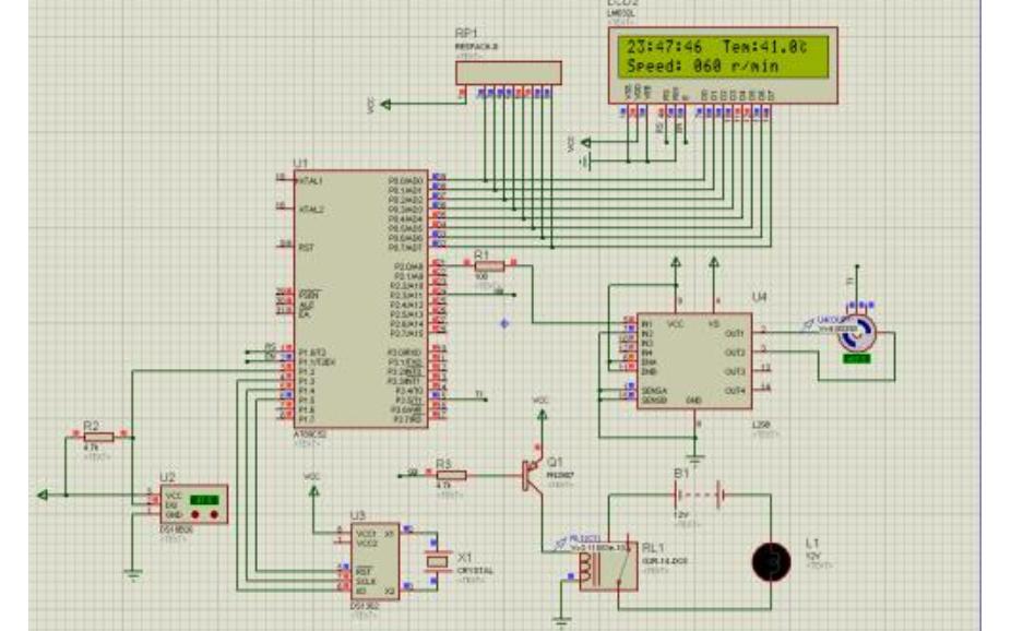 温度控制直流电机转速的仿真电路图免费下载
