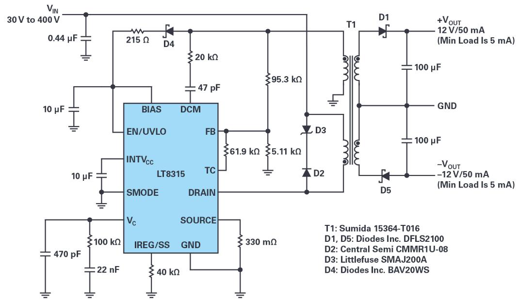 采用單個IC從30 V至400 V輸入產生隔離或非隔離±12 V輸出