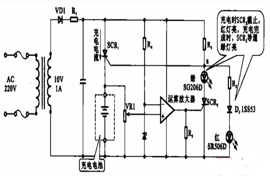 電池充電器的充電狀態顯示電路