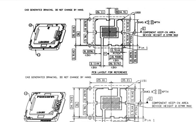 Intel LGA1200接口尺寸圖曝出,整體布...