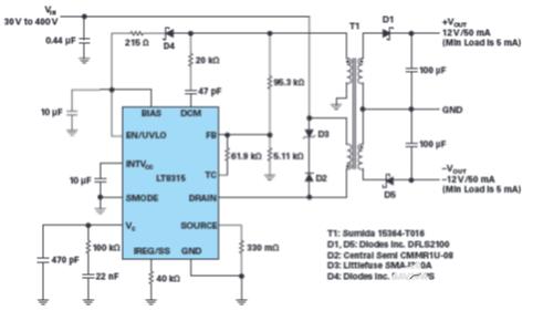 采用单个IC从30 V至400 V输入产生隔离或...