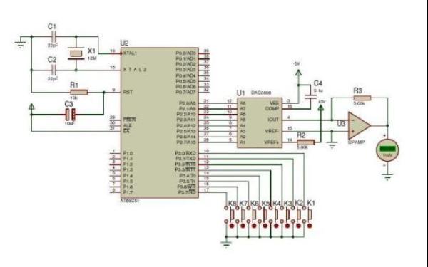 使用DAC0808实现数字调压的仿真原理图免费下载