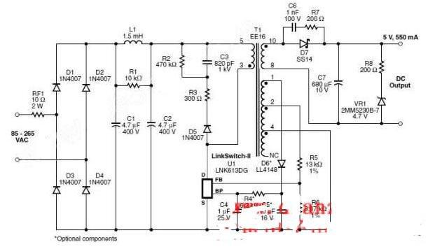 输入充电器电源的电路图