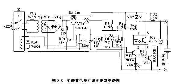 铅酸蓄电池可调充电器电路原理图