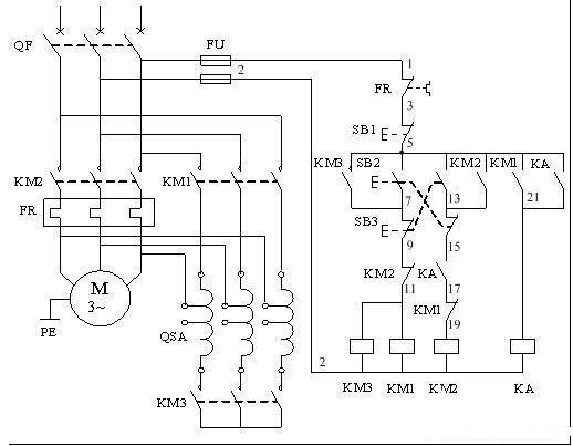 鼠笼式电动机自耦降压启动手动控制电路