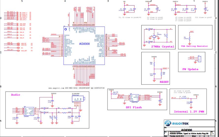 AG9300实现USB TYPE-C转VGA数据的单片机方案电路图免费下载