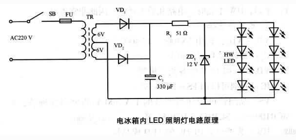 电冰箱内LED照明灯电路