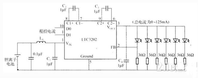 LTC3202鋰離子電池供電驅(qu)動白光LED電路