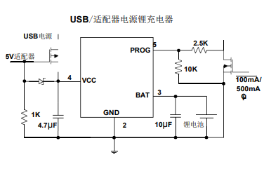 WH4054单片锂离子电池恒流和恒压线形电源管理芯片的数据手册