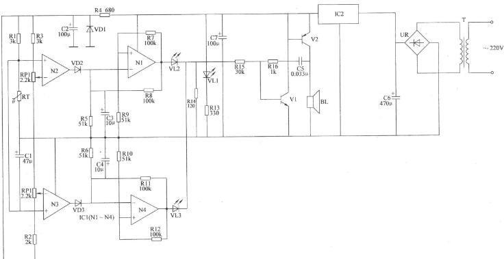 两列双限温度报警器电路图