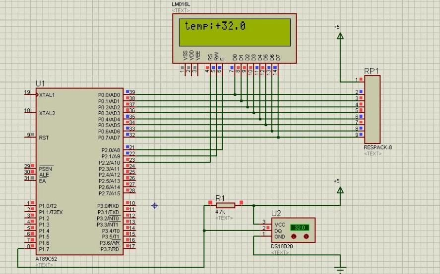 使用1602LCD和DS18B20设计温度报警器的仿真电路图免费下载