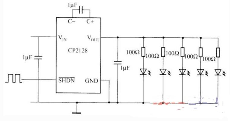 CP2128升压型DC/DC变换器的技术特性及典型应用电路