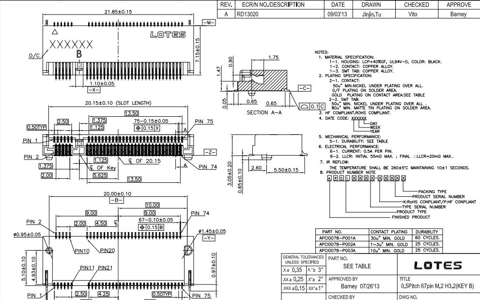 PCI-E67PIN-M.2座子NGFF连接器的规格原理图免费下载