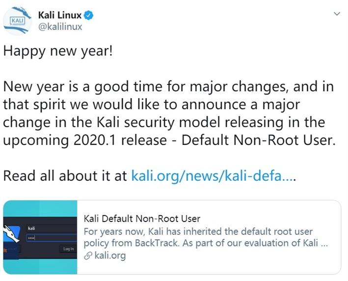 Kali Linux發行版默認用戶為非root身份