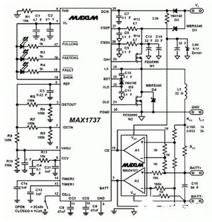 鋰離子電池完全(quan)充電的電路圖