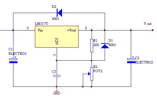 LM317集成可調穩(wen)壓器的(de)電源電路圖和簡(jian)介